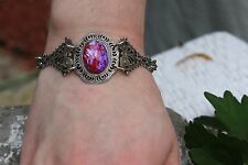 Dragon's Breath Opal Bracelet Filigree Hearts Victorian Huge Gift SALE