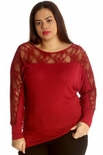 New Womens Top Ladies Plus Size Batwing Lace Elasticated Long Sleeve Nouvelle