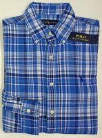 NWT $125 Polo Ralph Lauren Shirt Mens Long Sleeve Blue Plaid Check Button NEW