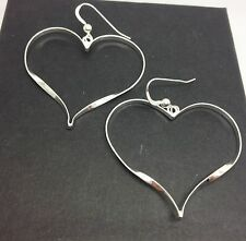Heart drop earrings, solid Sterling Silver, new, Giftbox. Large. UK seller.
