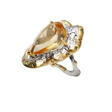 Amazing Retro Style Natural Citrine S925 sterling silver open size ring AS30