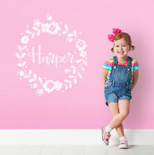 Personalise Initial Baby GIRL NURSERY BEDROOM Wall Sticker White Decal Decor