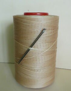 RITZA TIGRE WAXED HAND SEWING THREAD 0.8mm  FOR LEATHER & 2 NEEDLES BEIGE JK2