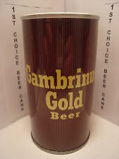 GAMBRINUS GOLD STRAIGHT STEEL PULL TAB BEER CAN #67-7   PITTSBURGH, PA.