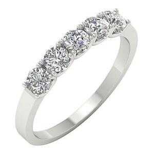 5 Stone Anniversary Ring VS1 E 1.00 Carat Natural Round Diamond 14K White Gold
