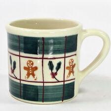 Hartstone Pottery GINGERBREAD - PLAID 14oz Mug Green Red Holly Berry 1982 Vtg