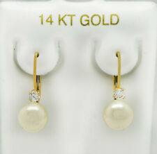 14k Yellow Gold 0.6IN Long 7-7.5mm White Pearl .13ct Ruby Leverback Earrings