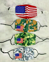 FACE MASK USA / MILITARY CAMO FLAG SUPPORT WASHABLE BREATHABLE USA FREE SHIPPING