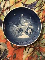 B G Bing Grondahl 1977 Vintage Plate Juleafton Jul Christmas Copenhagen Denmark