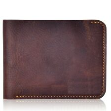 Cow Leather RFID Blocking Bifold Thin Minimalist Card Slot Wallets for Men