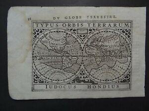 1618 BERTIUS  Atlas Hondius WORLD map  TYPUS ORBIS TERRARUM - Globe Terrestre