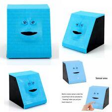 Collection Face Bank Coin Eating Saving Bank Automatic Money Box Piggy Bank blue