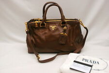 NWT Prada Soft Calf Double Zip Shopping Tote Satchel BN2324 Bruciato
