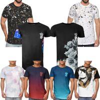 Mens Digital Print T-Shirt Floral Ombre Designer Short Sleeve Tee Top Size