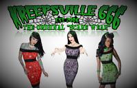 kreepsville 666 Luxury Red Purple Green Pencil Short Dress for Gothic Punk Women