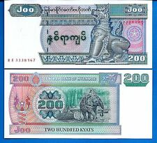 Myanmar P-78 200 Kyat Year ND 2004 Elephant Uncirculated Banknote Asia