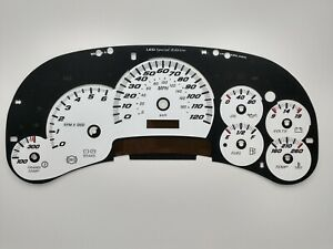 US Speedo White SS Gauge Face Overlay for GM Clusters 03-05 2500 Gas LED Edition