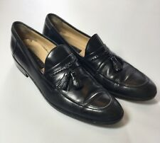 Johnston Murphy Black Leather Moc Apron Toe Tassel Slip On Loafer Shoes Men 11 M