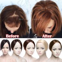 100% Clip in Virgin Human Hair Silk Mono Base Women Topper Hairpiece Top Piece F