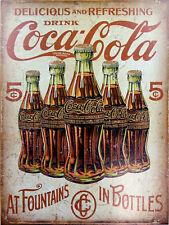 "Coca Cola Bottles, Retro metal Sign/Plaque, Gift 10"" x 8"" Large"