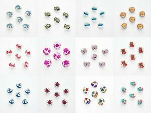 Children's Buttons 15mm x Set of 6 Shank Backs Picture Buttons in 25 Designs