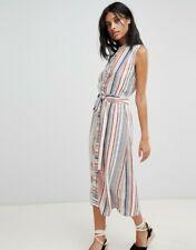 Ladies NWT Warehouse UK size 14 blue white and red stripe sleeveless shirt dress