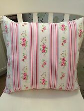 """Clarke and Clarke Chintz Pink Floral Stripe 16"""" Cushion Cover Shabby Chic"""