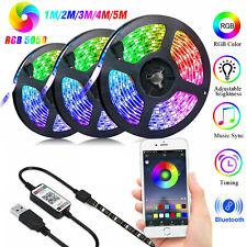 5V USB Power LED Strip Lights 5050 RGB TV Backlight Bluetooth APP Remote Music