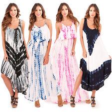 Pistachio Damen Tie Dye Ärmellos Maxi oder neue Damen Sommer Strand Swing Kleid