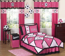 Sweet Jojo Designs Pink Soccer Ball Sports Kid Teen Twin Size Girl Bedding Set