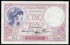 5 Francs ;  VIOLET , émis le 19.10.1939 ; FAY# 4/12