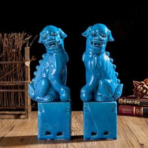 China Jingdezhen Ceramics Porcelain Blue Foo Fu Dog Guardion Lion Statue Pair