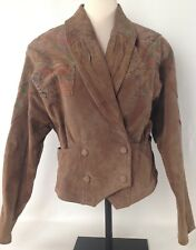 G-III Cropped Tan Suede Leather Jacket Womens Size M Double Snap Front Floral
