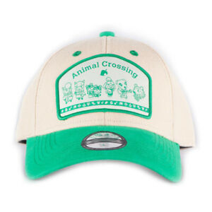 NINTENDO Animal Crossing Logo Patch Baseball Cap, Unisex, White/Green
