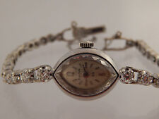 Women's 14k White Gold VINTAGE Bulova Diamond Band Watch 1.31 tcw E/SI Estate