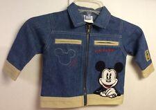 Disney Denim Jacket with Mickey, Khaki, Zipper, Long Sleeves, 12 months