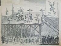 Antique 1759 Engraving Execution Conspirators Lisbon Torture Medieval History