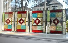 """Lot of 4 Stained Glass Art Windows 9"""" x7"""" 1930 New Orleans home Ex-Mnt Condition"""