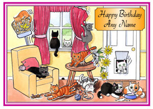 PERSONALISED CATS EVERYWHERE! FUNNY CARTOON BIRTHDAY/OTHER CARD FREE POST 1ST