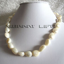 """18"""" 10-12mm White Baroque Freshwater Mother of Pearl Necklace Jewelry UE"""