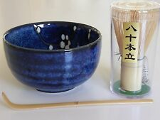 Japanese Matcha Cup Bowl UME Blossom Bamboo Scoop 80 Whisk Tea Ceremony Gift Set