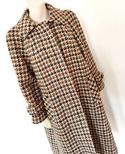 VINTAGE 1960s 60s AQUASCUTUM MOD Hounds Tooth Swing Cappotto Taglia 12 - 14