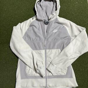 Nike Jacket Mens Medium Full Zip White Gray Long Sleeve Hooded