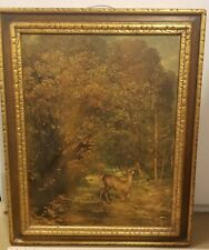 Vintage Print DEER in Forest Framed-Coulbet 22 x 27 - pre owned