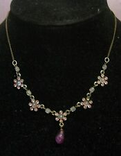 Very pretty bronze tone metal chain with pink stoned flowers very dainty!