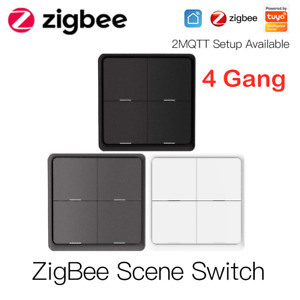 4 Gang Tuya ZigBee Wireless 12 Scene Switch Push Button Controller App Control>