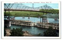 "Early 1900s Steamer ""Frontenac"" & River Barge ""Mississippi"", Winona, MN Postcard"