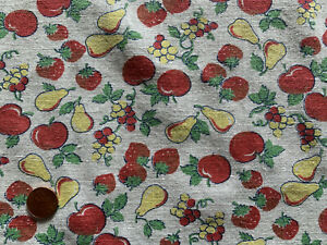 ONE VINTAGE FEEDSACK FRUITS  BERRIES PEARS  37x45  Cleaned 1 faded spot