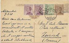 P6633   Alessandria, Intero Postale in Fermo Posta Zurigo (Svizzera) 1928