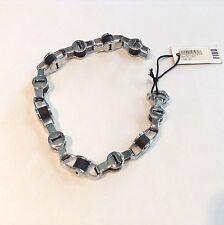 Bracciale da uomo Fibo Steel con elementi neri e acciaio 22 cm. nuovo